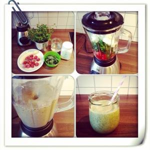 Green Smoothie light - 1 Banane, 100g Erdbeeren, 50g Spinat, 1 Bund Minze, 150g Joghurt, 200ml Wasser