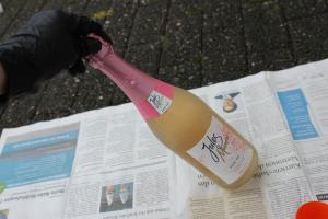Sektflasche im Glitzerdesign DIY - Flasche einsprühen