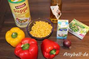 Paprika-Mais-Suppe Vegan - Zutaten