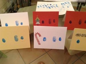 DIY Weihnachtskarten - Karten mit Fingerabdrücken